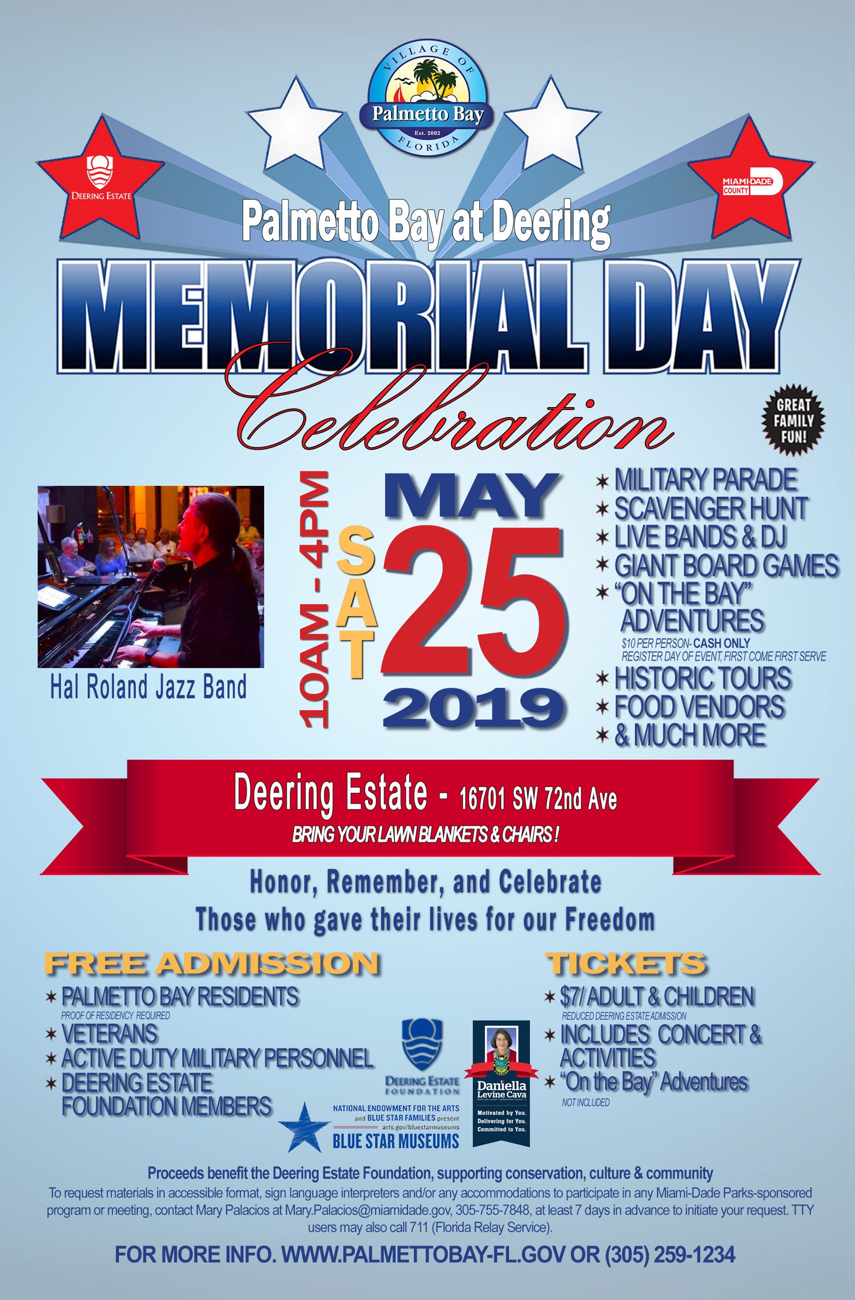 Palmetto Bay at Deering Memorial Day Celebration Saturday, may 25, 2019 from 10 AM - 4 PM at Deering