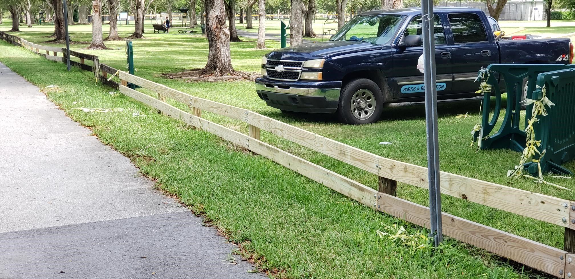 Repaired wooden fence