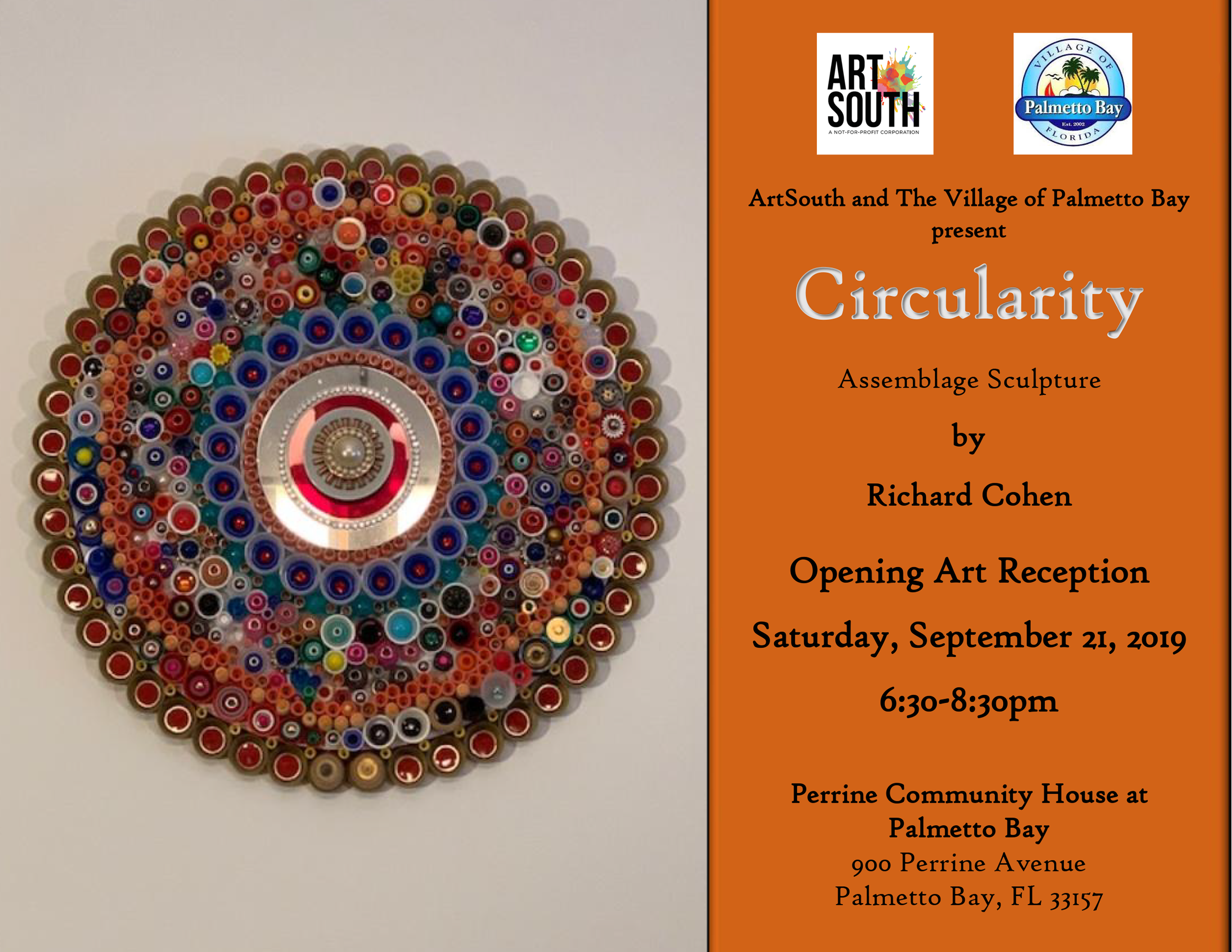 Palmetto Bay Art Exhibit, Richard Cohen's Circularity, Saturday, September 21 from 6:30pm-8:30pm