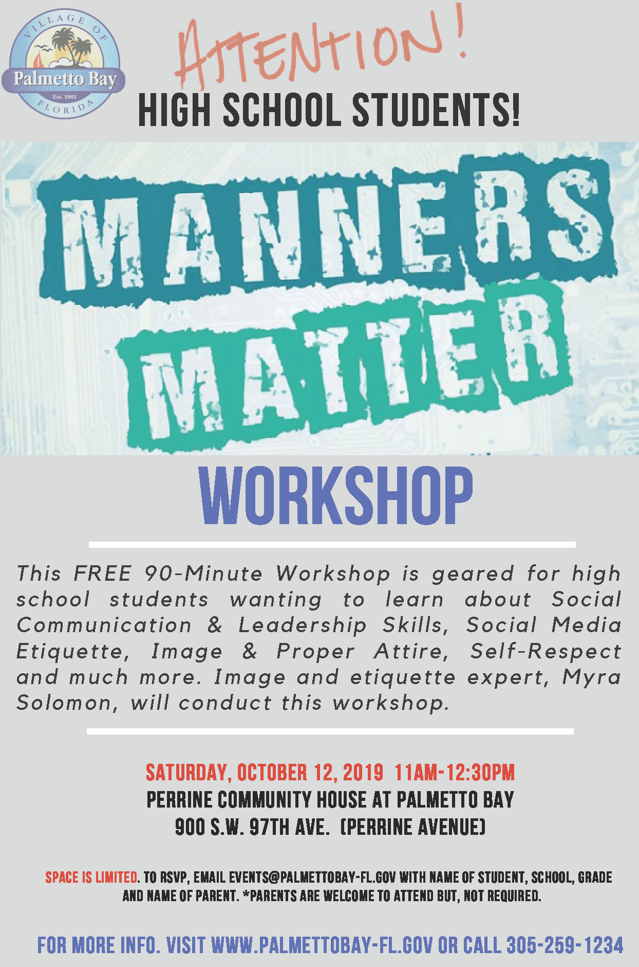 Manners Matter workshop for High School Students, Saturday, October 12 at PCH from 11am -12:30pm