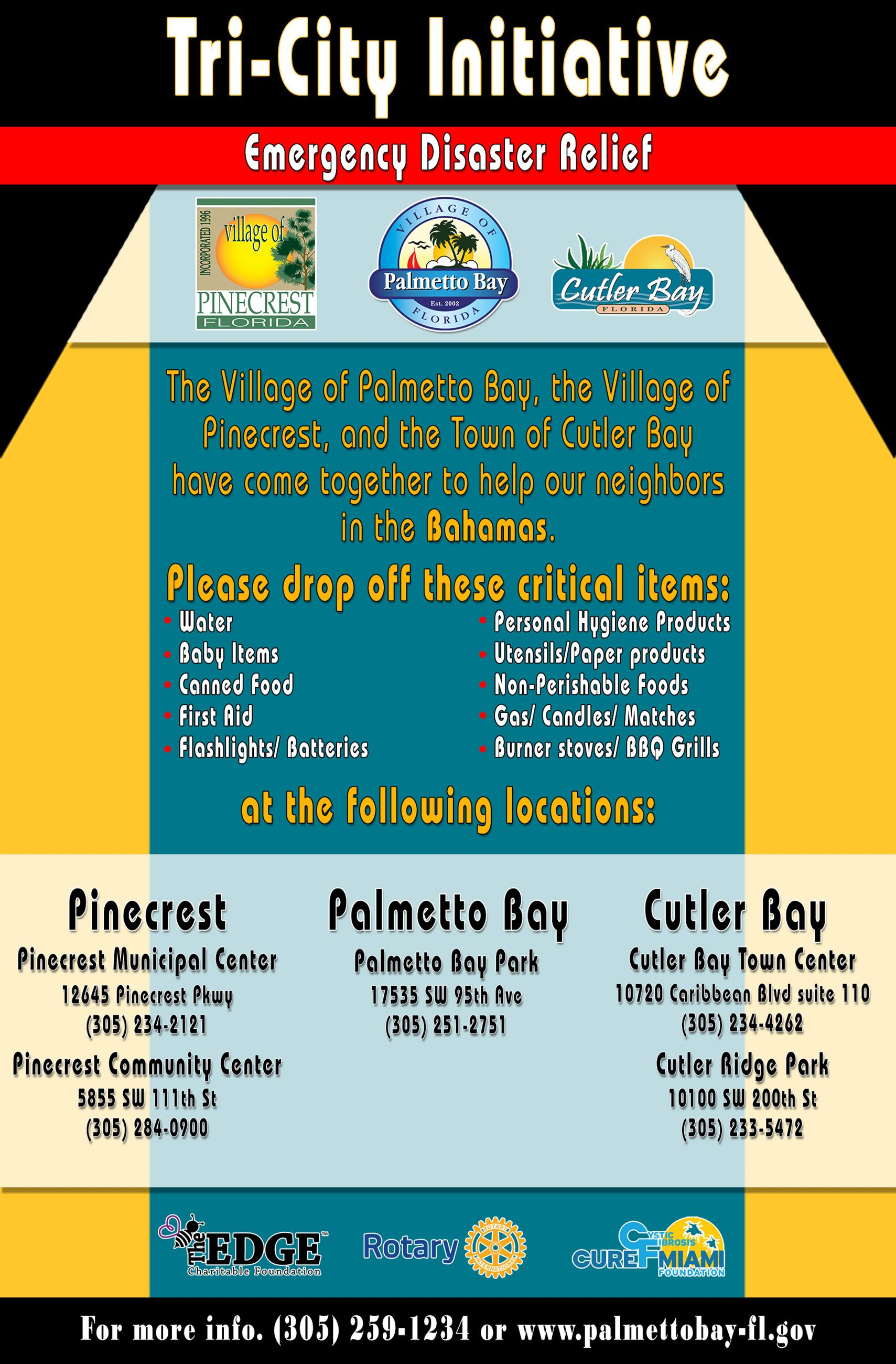 Hurricane Dorian Tricity Initiative, Palmetto Bay, Pinecrest and Cutler Bay are joining efforts for
