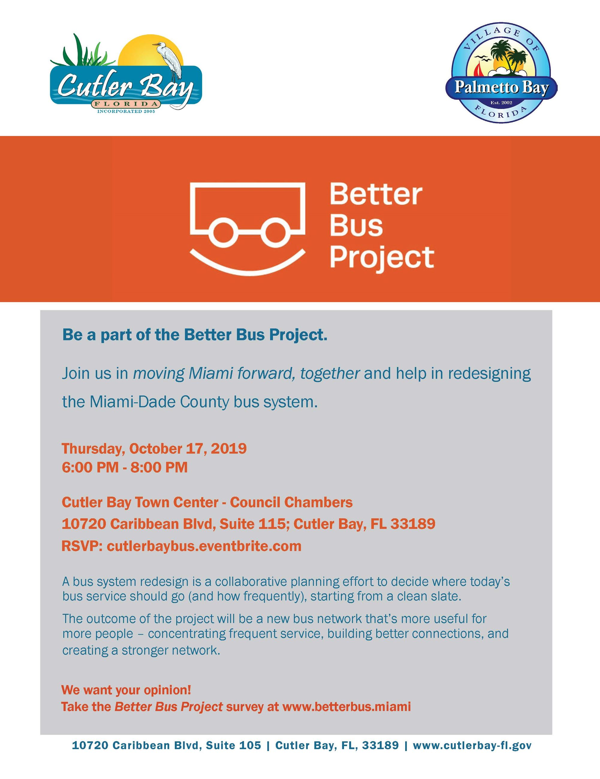 The Town of Cutler Bay, Commissioner Daniella Levine-Cava and the Village of Palmetto Bay invite you