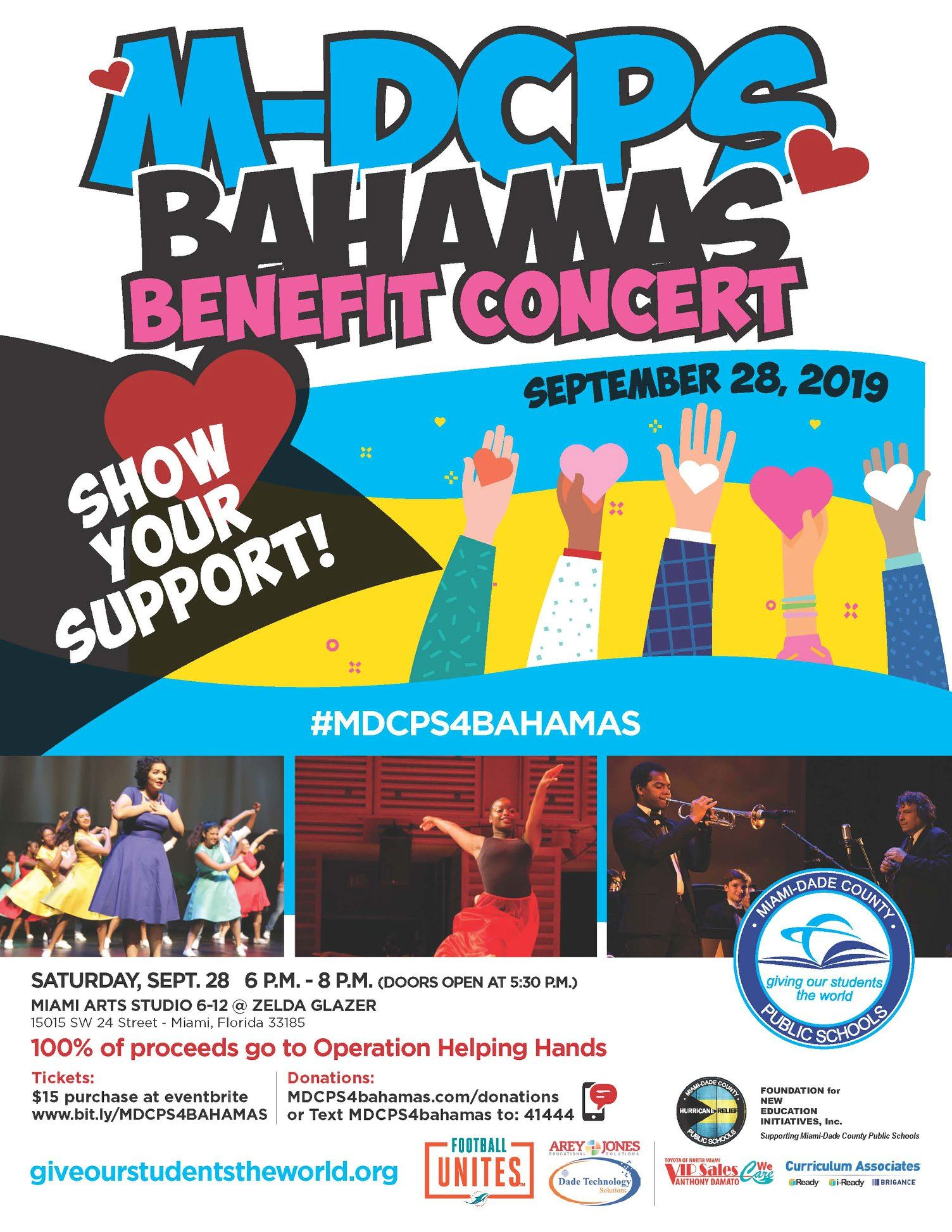 M-DCPS Bahamas Benefit Concert. Show your support on Saturday, September 28, 2019 from 6 - 8 PM at M