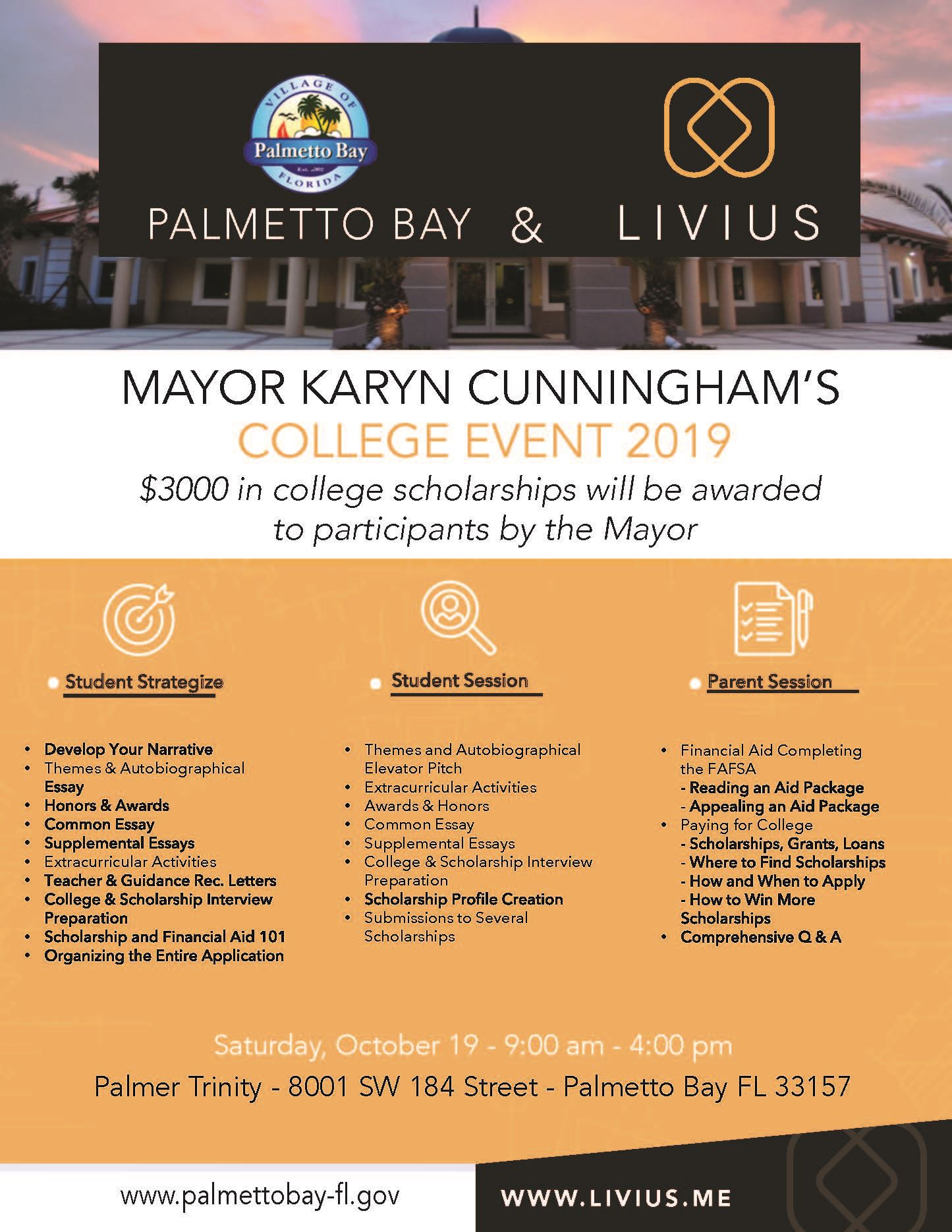 Hackathon Palmetto Bay, Mayor Cunningham's College Event 2019 Saturday, October 19, 2019 from 9 A