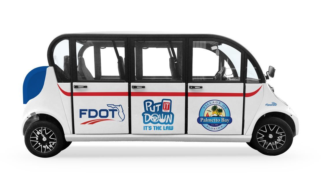 Photo of Freebee with FDOT logo promoting put it down campaign