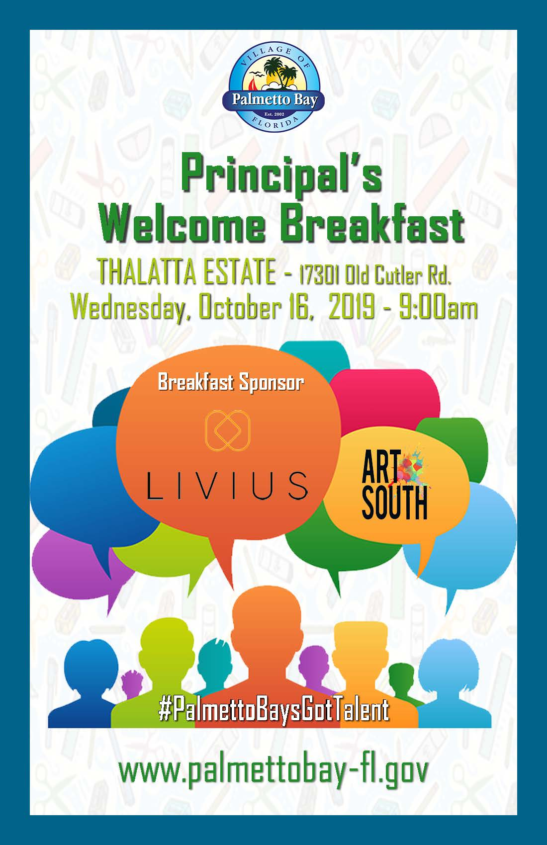 Principal's Welcome Breakfast at Thalatta Estate 17301 Old Cutler Road on Wednesday, October 16,