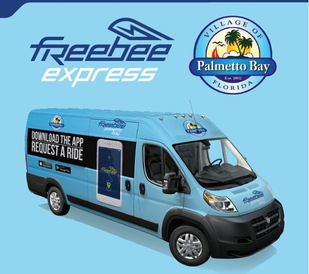 Freebee express picture with Palmetto Bay Logo and download the APP, request a ride