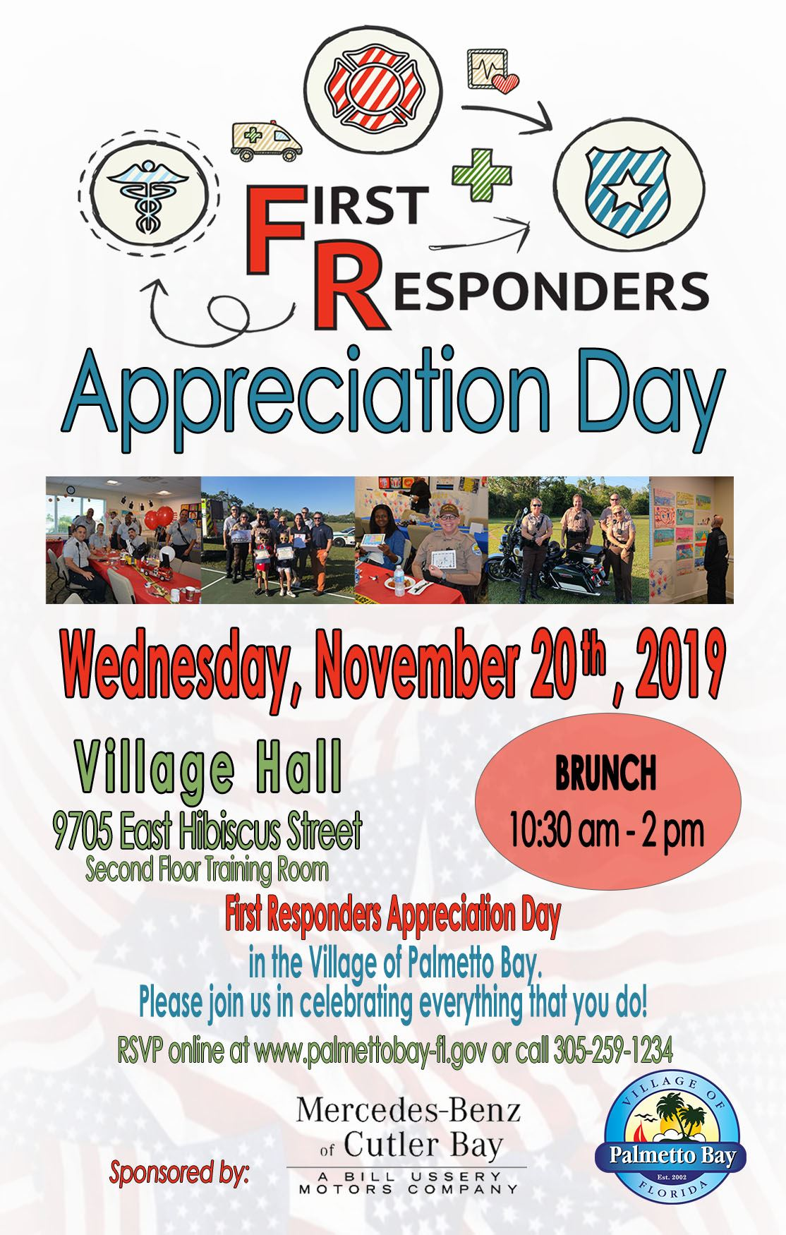 First Responders Appreciation Day, Wednesday, November 20th from 10:30a-2P at Village Hall