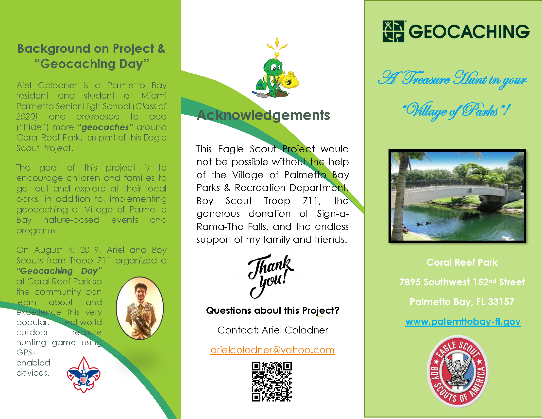 "Background on Project & ""Geocaching Day"", Acknowledgements and Geocaching Coral Reef Park 7895"