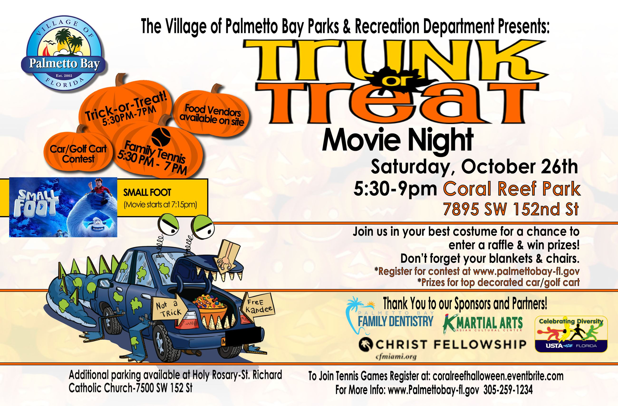 Trunk or Treat Movie Night this Saturday, October 26th from 5:30 - 9 PM at Coral Reef Park 7895 SW 1