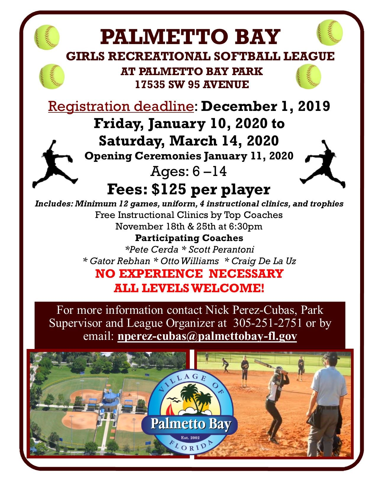 Girls Reccreation softball league flyer updated 11-6-19