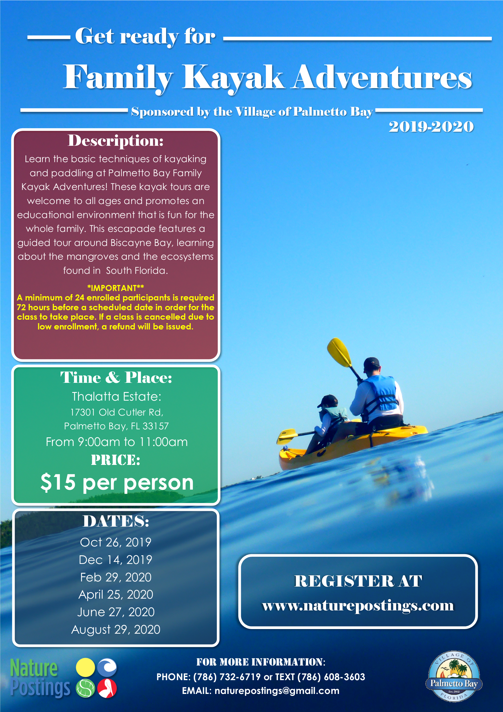 Family Kayak Adventures, Saturdays every other month staring in December from 9-11am launching from