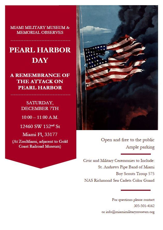 Pearl Harbor day flyer contains photo of flag and event details, December 7th at 10 at Zoo Miami