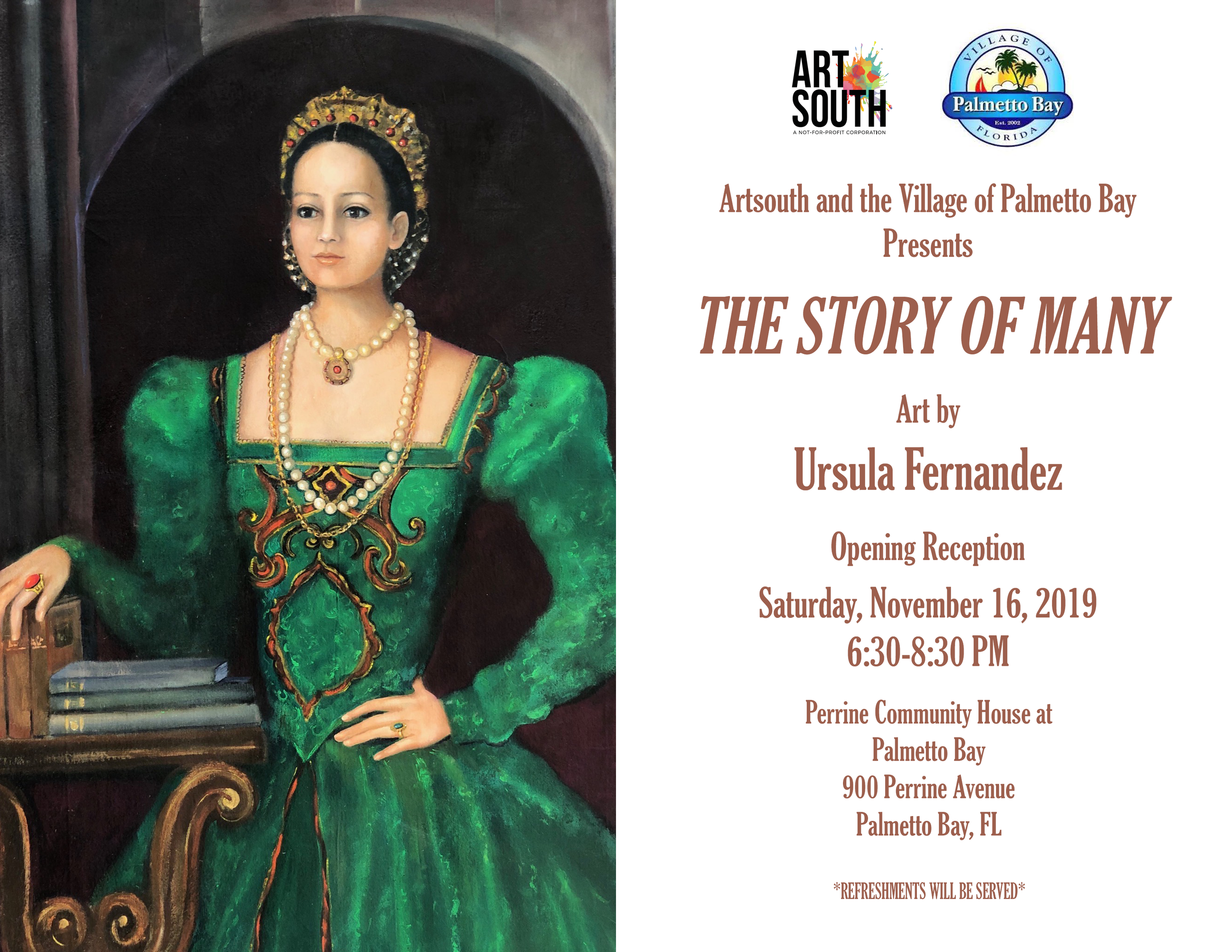 ArtSouth and the Village of Palmetto Bay Presents The Story of Many, Art by Ursula Fernandez. Openin