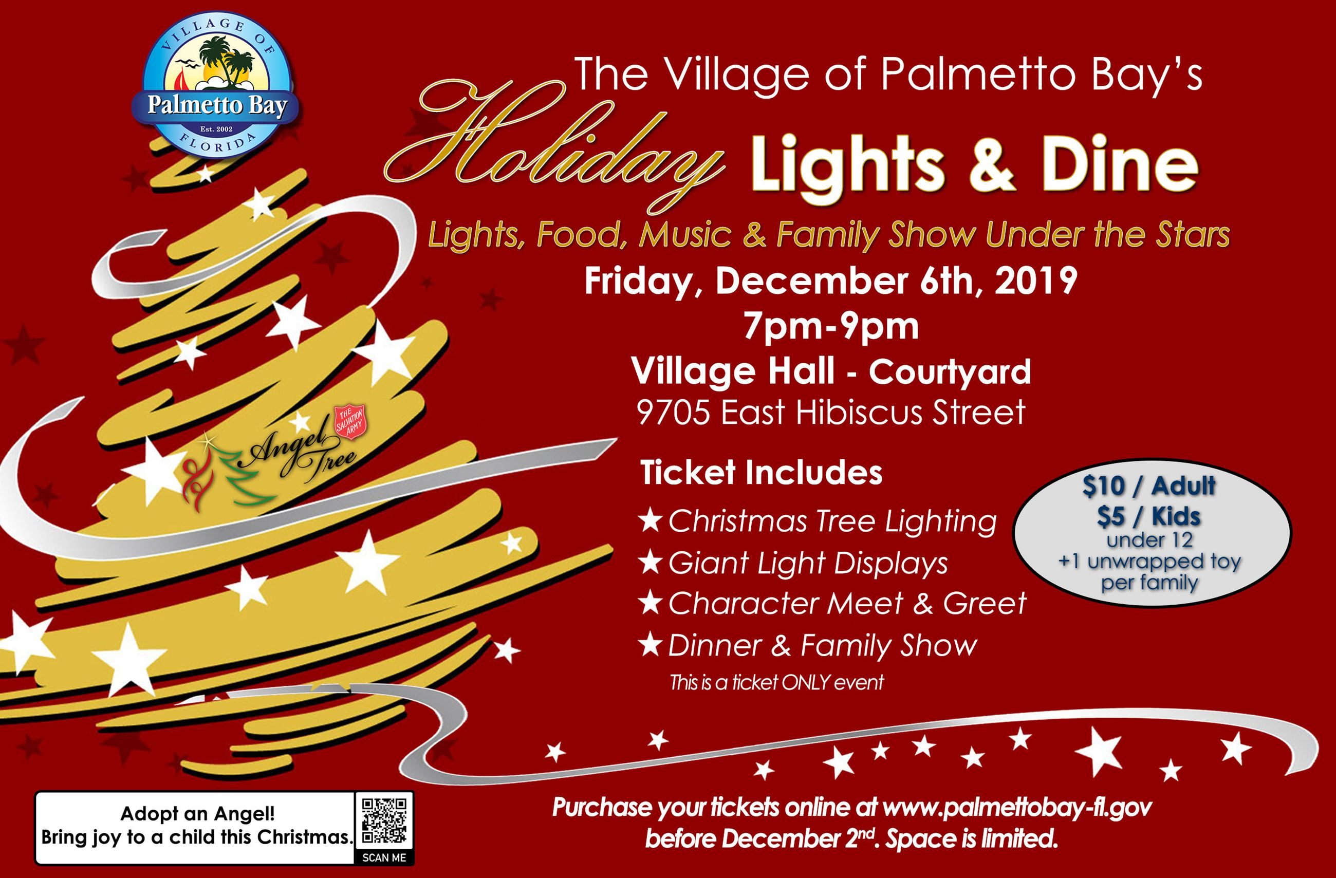 The Village of Palmetto Bay's Holiday Lights & Dine. Lights, Food, Music & Family show under the