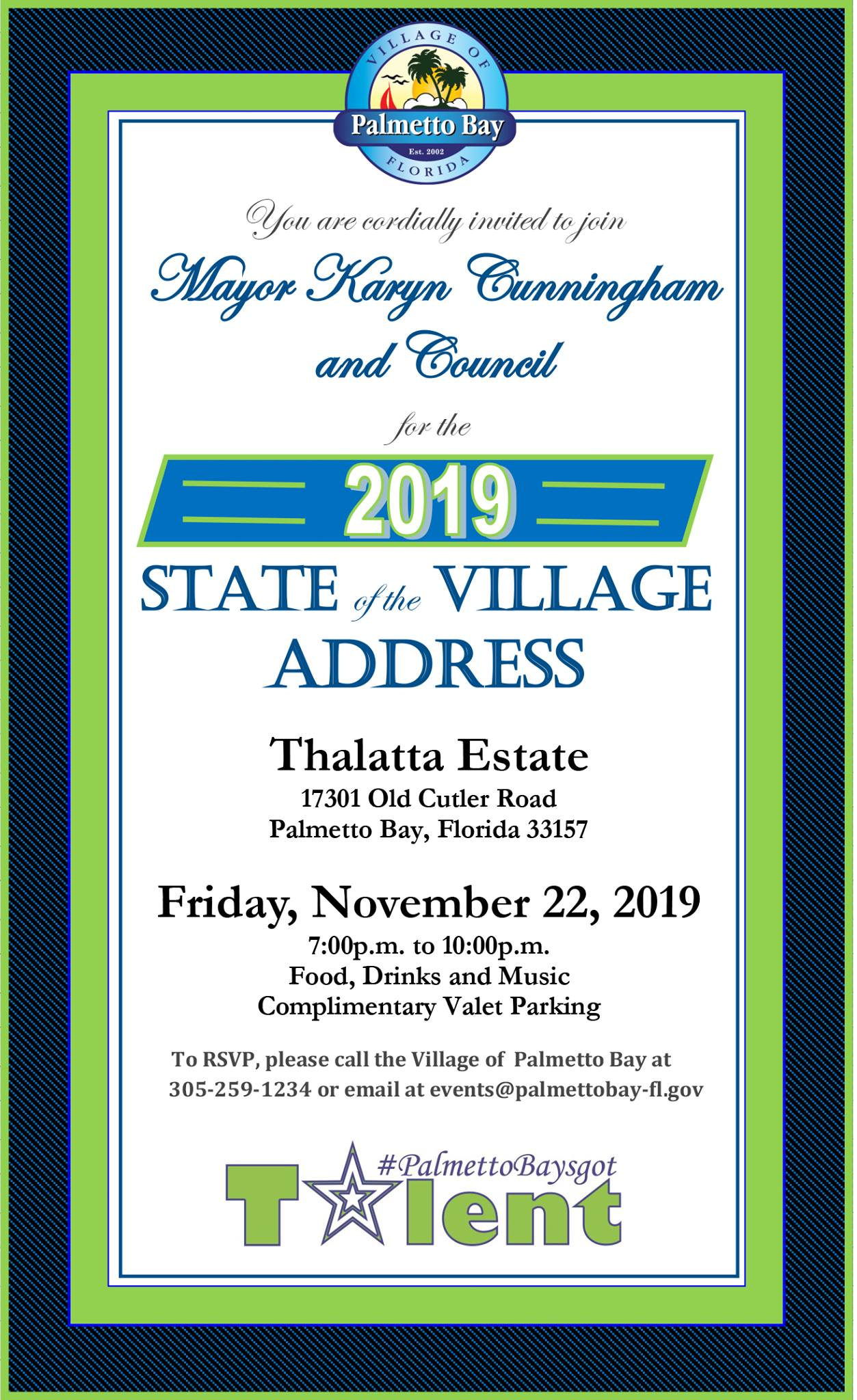 State of the Village Address 2019 Invitation. You are cordially invited to join Mayor Karyn Cunningh