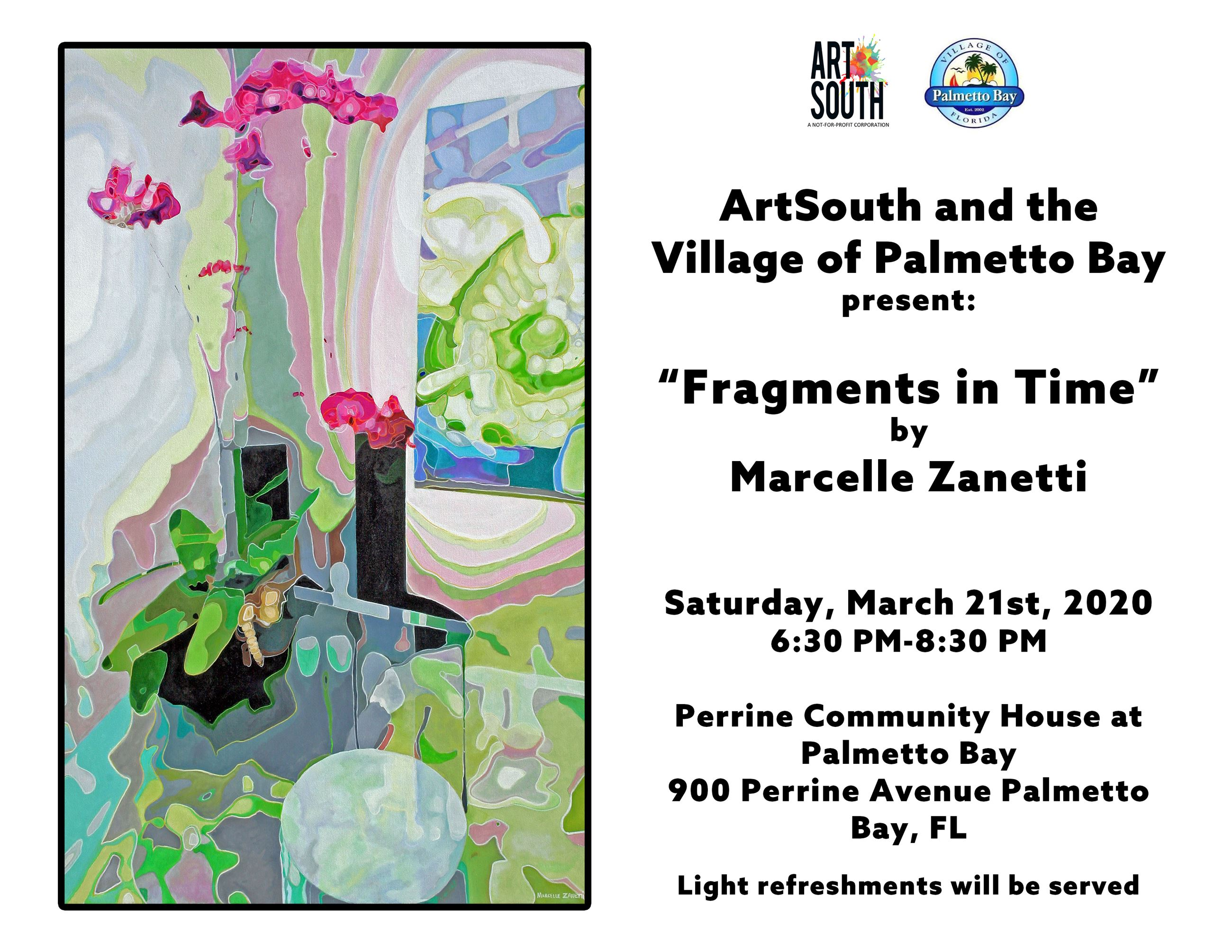 Palmetto Bay Artist Exhibit Saturday, March 21st from 6:30-8:30p at Perrine Community House at Palme