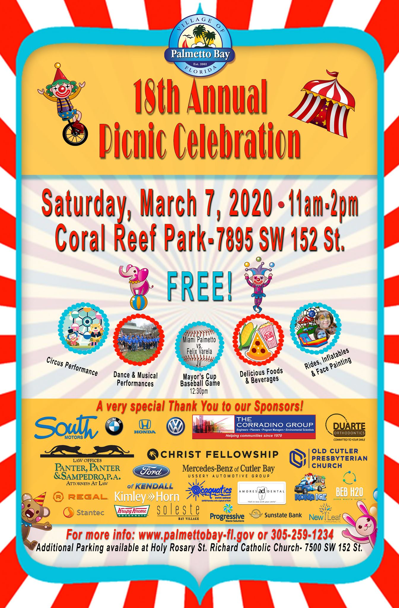 18th Annual Village of Palmetto Bay Picnic at Coral Reef Park on Saturday, March 7th from 11 a.m. -