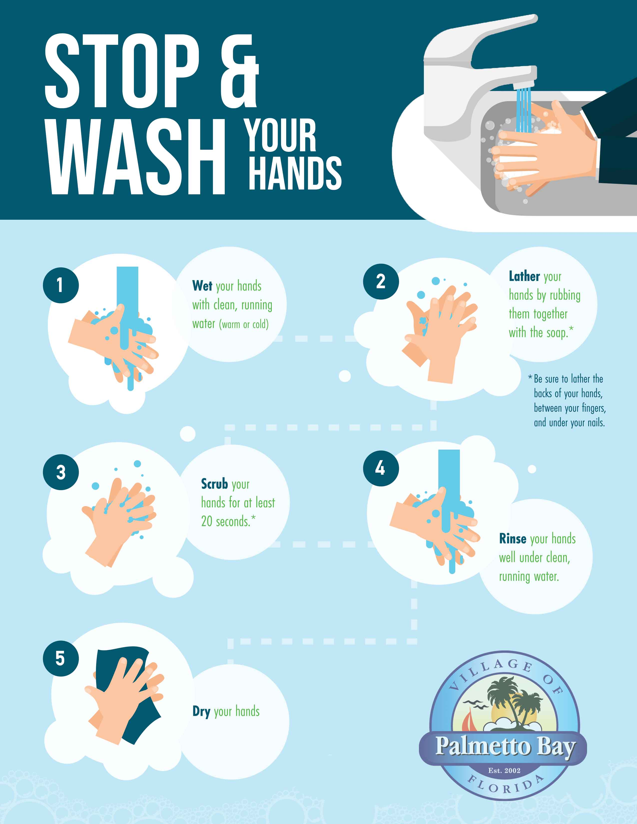 Village of Palmetto Bay wash your hands flyer