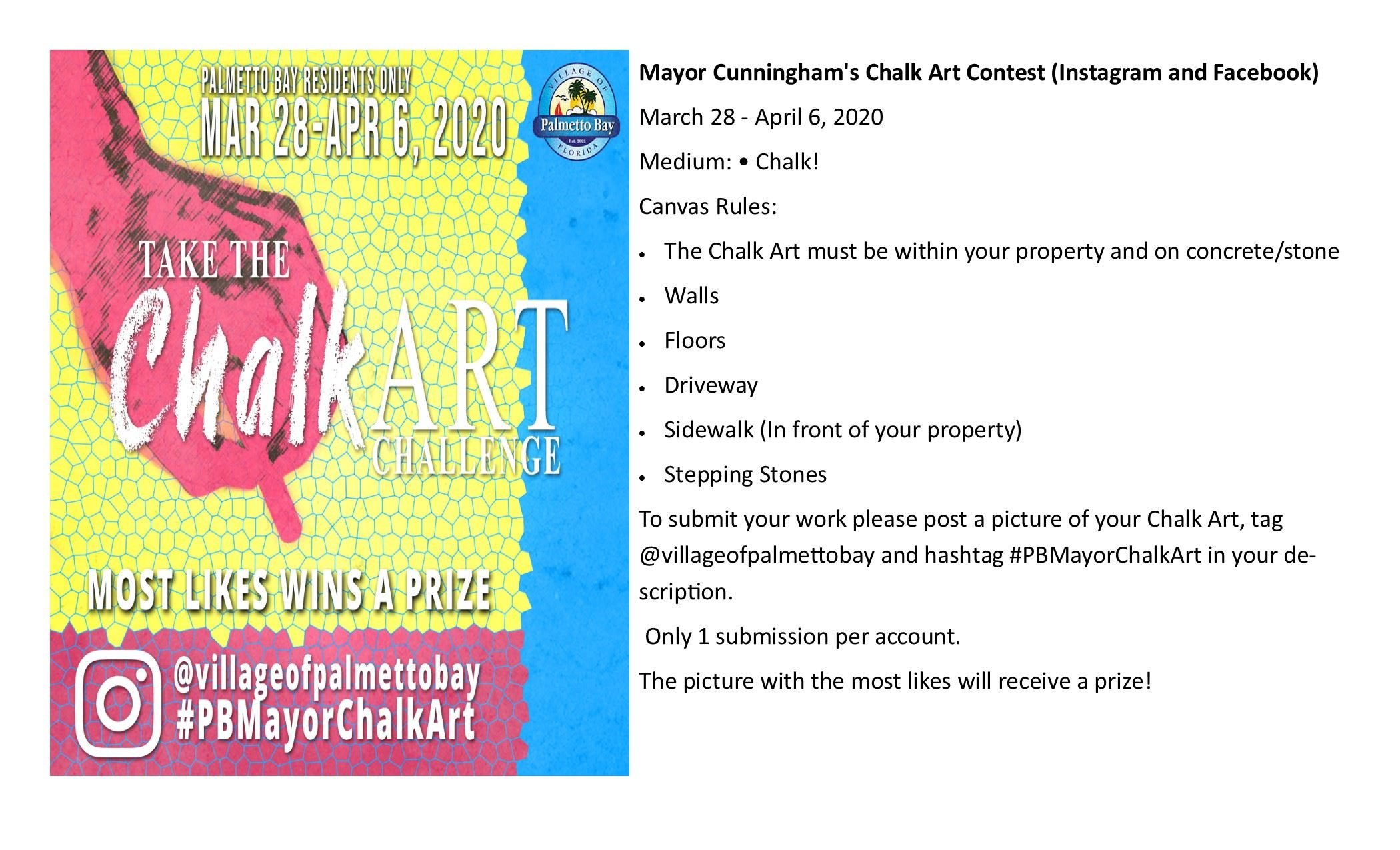 Mayor Cunningham's Chalk Art Contest, March 28-April 6. Post one picture per account.