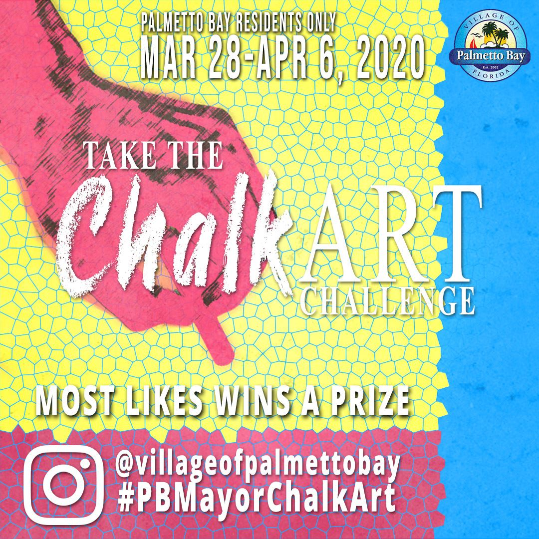 Flyer showing dates and info about Chalk Art Contest