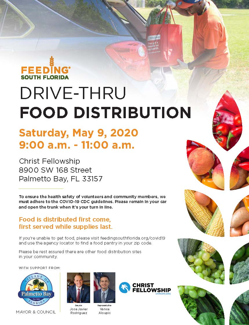Palmetto Bay - Drive Thru Food Distribution Saturday, 9 am until 11 am at the church.  First come-fi
