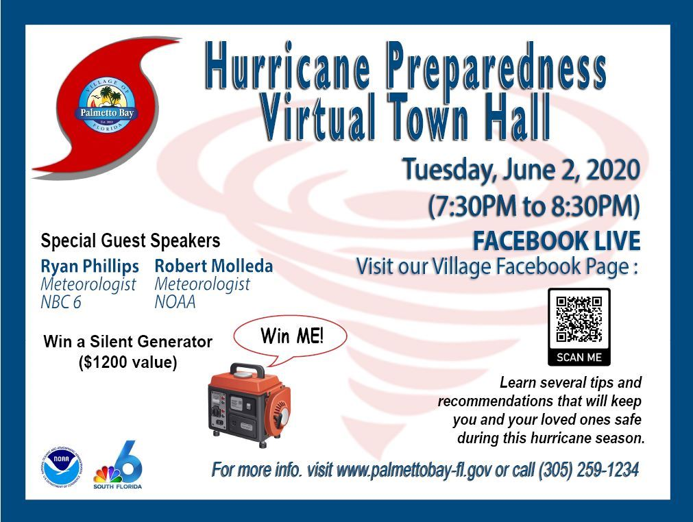 Hurricane Preparedness Virtual Town Hall new date 2020, June 2nd 7:30 pm, Village FB page