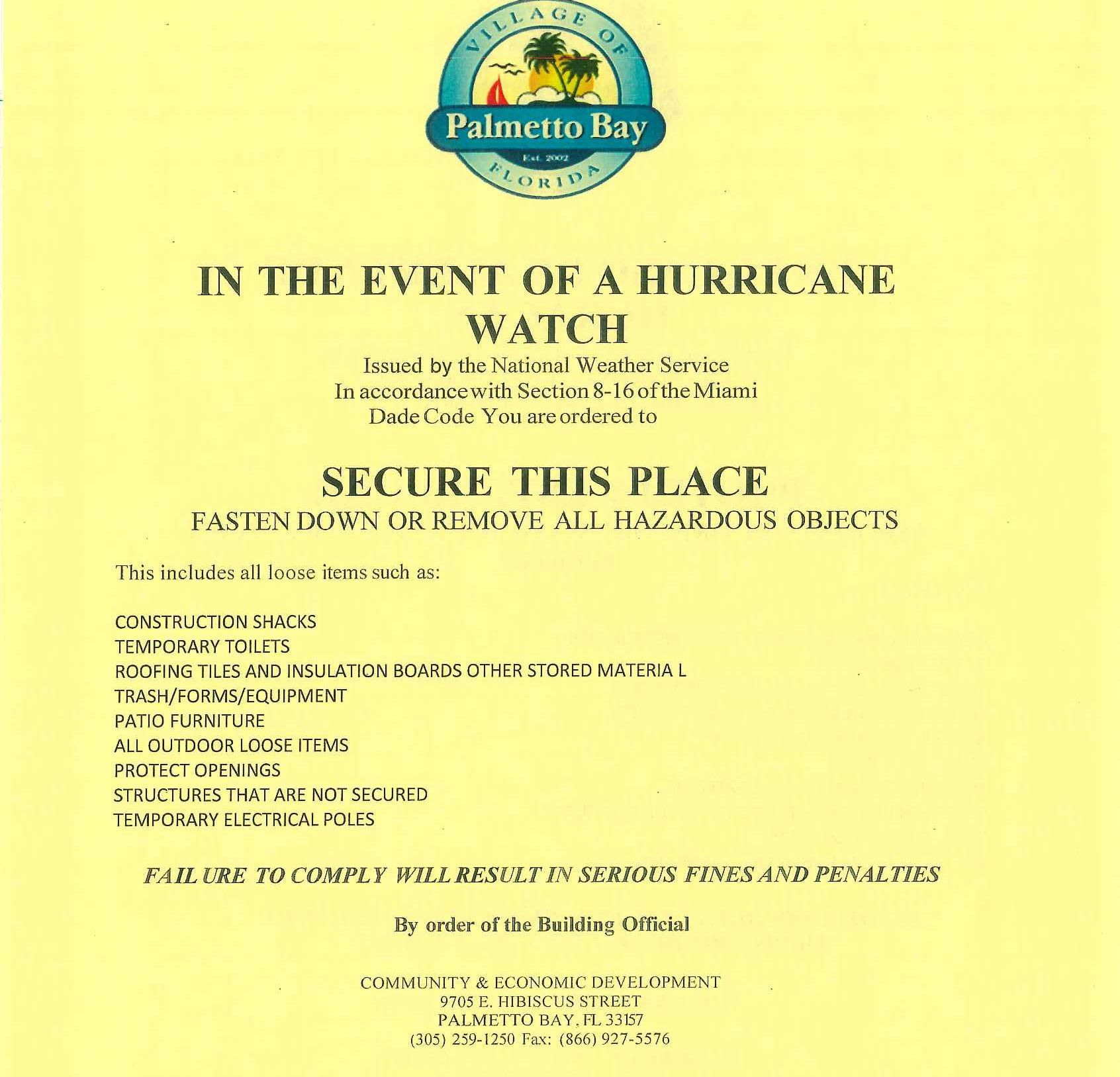 Hurricane job site clean-up flyer information