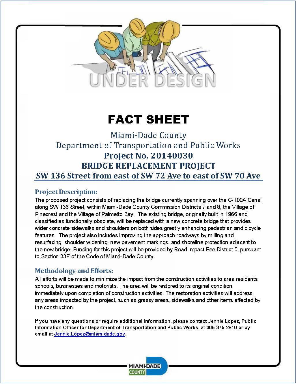 FACT SHEET SW 136 Street Bridge Replacement Project