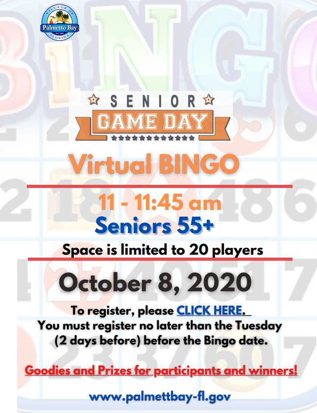 October Senior Game Day Virtual BINGO, October 8th from 11-11:45 am