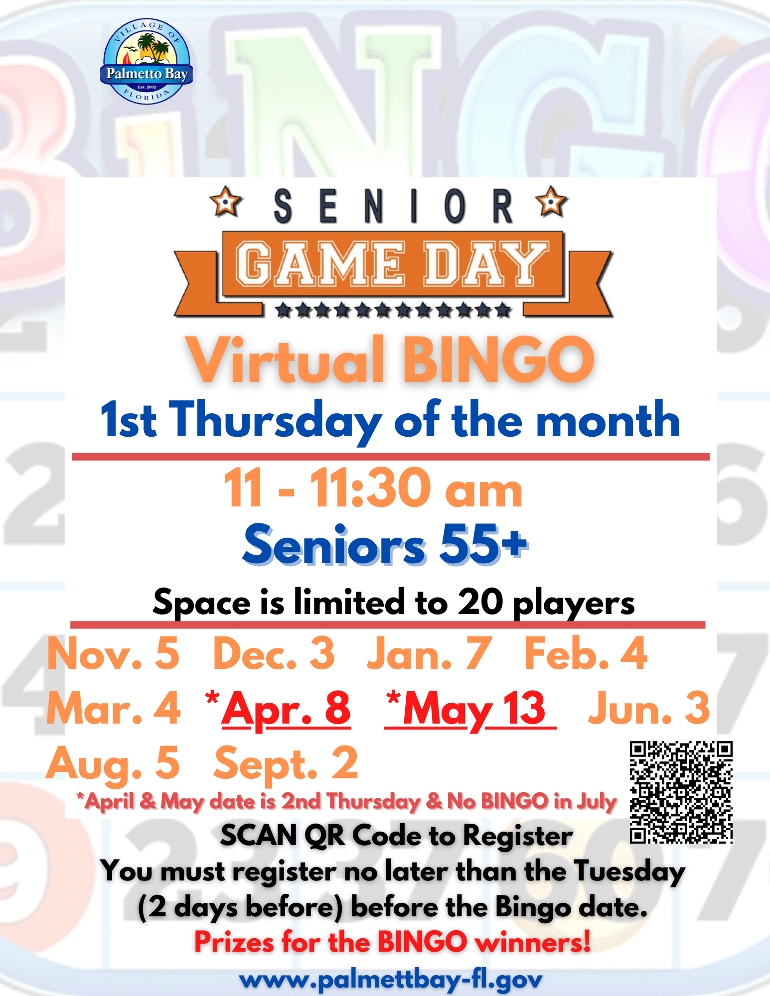 Senior Game Day Virtual Bingo Dates for 2021