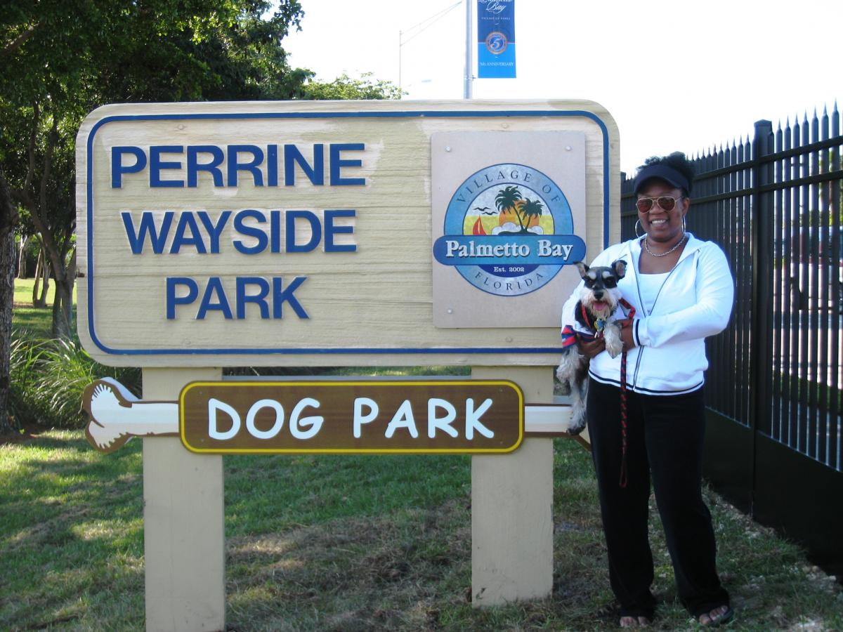 Dog Park Entrance with Visitor