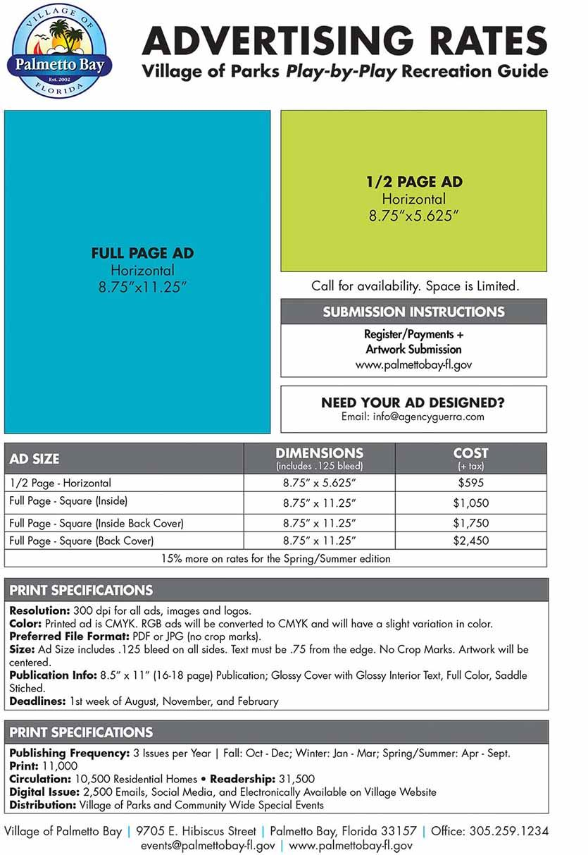 Advertising Rates - Village of Parks - 2018-2019-FINAL