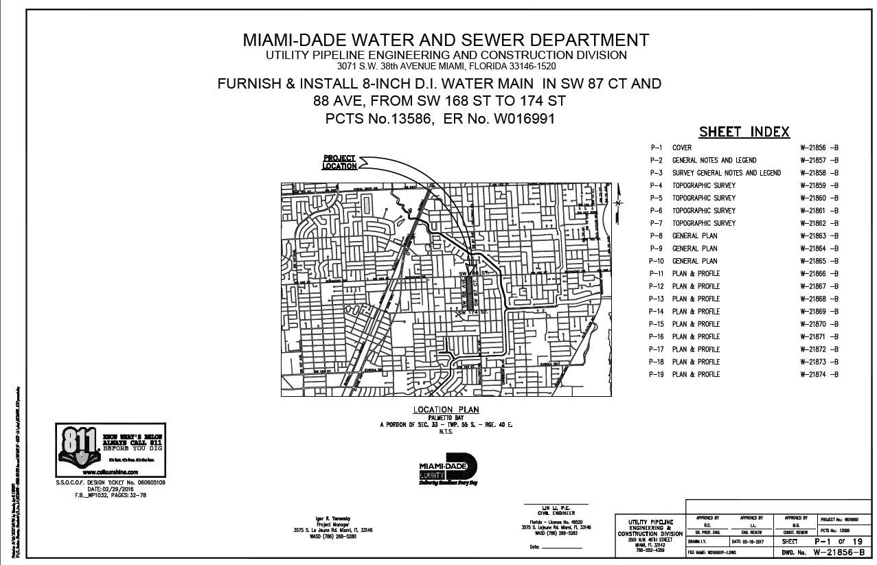 Water main work 87th ct and 88th ave