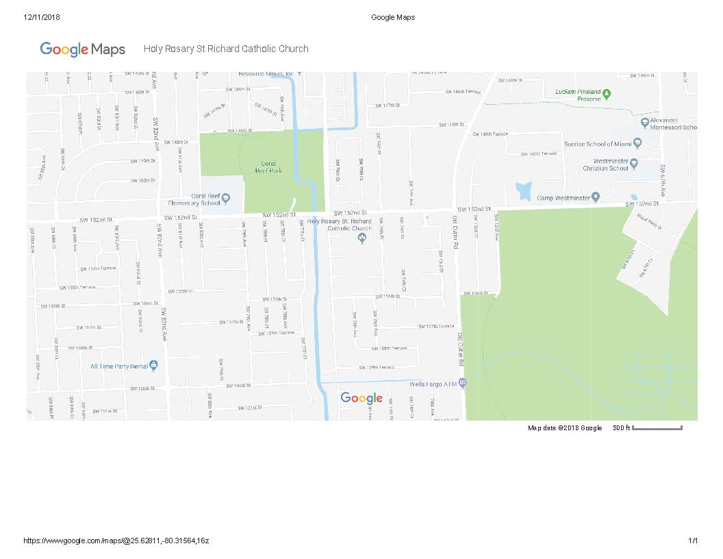Google Maps- Holy Rosary St Richards Catholic Church Location Map
