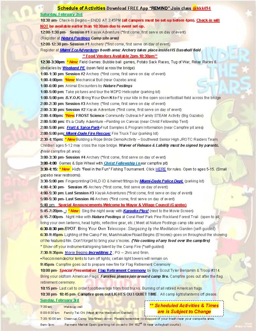 Camping in the Park Schedule of Activities 2019-FINAL