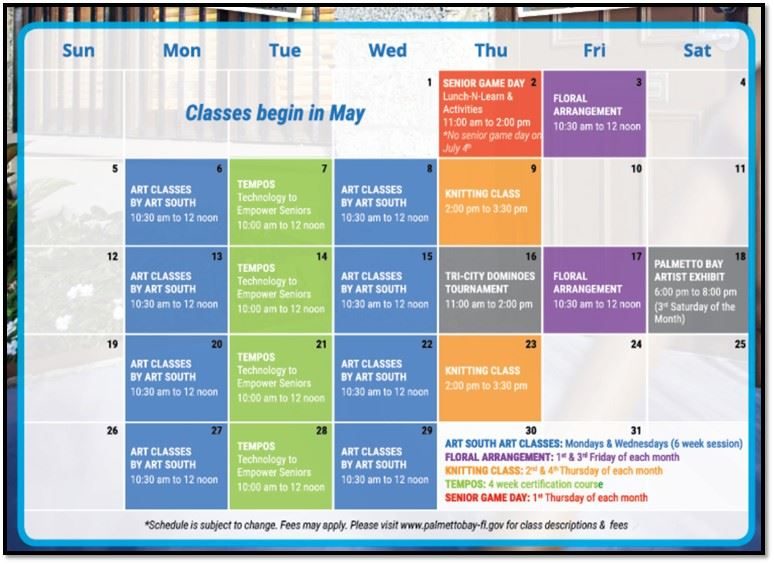 THIS IS A CALENDAR FOR SENIOR PROGRAMS .  aRT SOUTH ART CLASSES WILL E HELD ON mONDAYS AND wEDNESDAYS.  FLORAL ARRANGEMENT WILL BE HELD ON THE FIRST AND THIRD FRIDAY OF EACH MONTH.  KNITTING WILL BE THE SECOND AND FOUR THURSDAY OF EACH MONTH.  TEMPO TECHNOLOGY IS A FOUR WEEK CERTIFICATION COURSE AND SENIOR GAME DAY IS THE FIRST THURSDAY OF EACH MONTH.