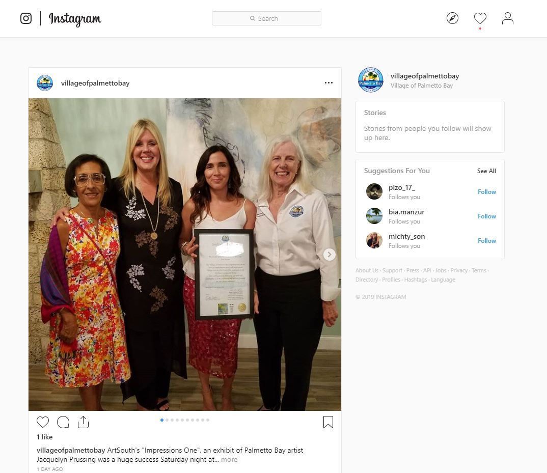 instagram photo of Mayor Cunningham and Councilwoman Matson joined by Palmetto Bay residents Beatrice Herman and  Jacquelyn Prussing