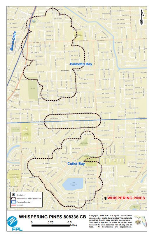 FPL LINE CLEARING:  Map outlining FPL's targeted areas for line clearing.  Contact Nicolas Sardina for more information at: 305-442-5443