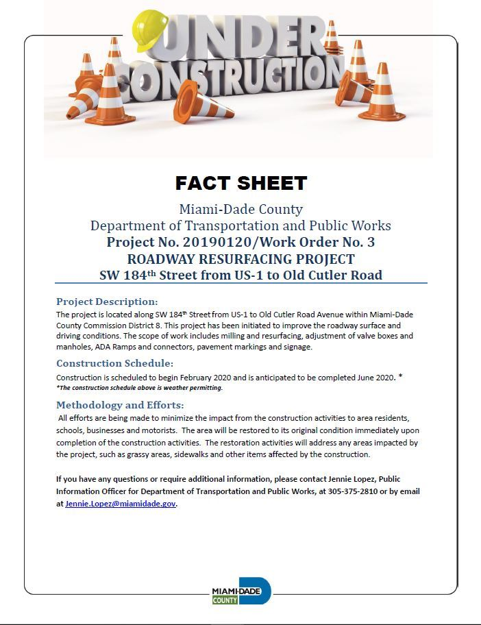 roadway resurfacing project flyer on SW 184th St. between US-1 and Old Cutler Rd., Begins in Februar