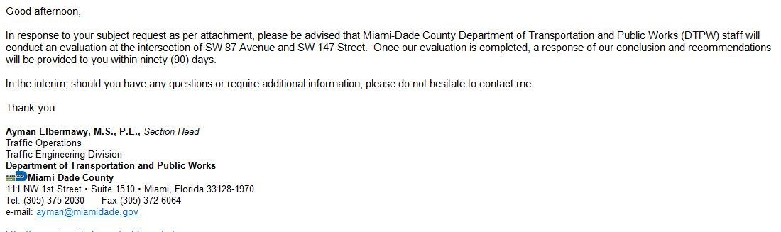 84th Ave and 174th St Letter from Miami Dade County